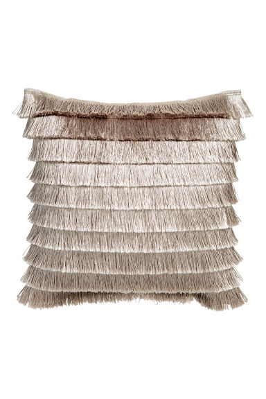 Tiered-fringe cushion cover - Light beige - Home All | H&M CN 1