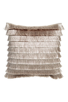 Tiered-fringe cushion cover