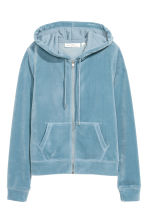 Velour hooded jacket - Grey-blue - Ladies | H&M CA 2