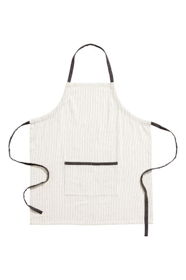 Jacquard-weave apron - Natural white/Dark grey - Home All | H&M IE