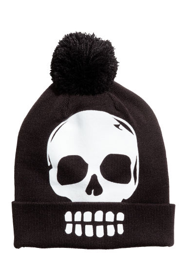 Hat with a pompom - Black/Skull - Kids | H&M CN
