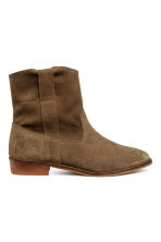 Suede boots - Dark olive green - Ladies | H&M 1