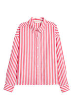Wide cotton shirt - Red/White striped - Ladies | H&M IE 2