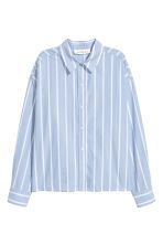Wide cotton shirt - Light blue/Striped - Ladies | H&M CN 2