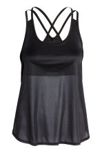 Sports top with sports bra - Black - Ladies | H&M 2