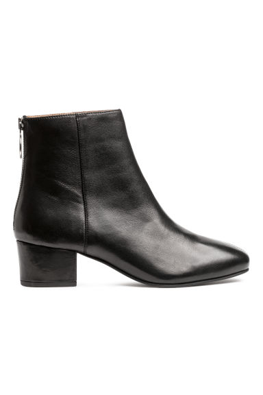 Leather ankle boots - Black -  | H&M