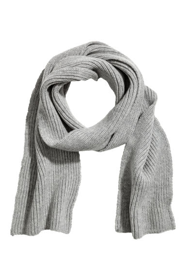 Ribbed wool scarf - Grey marl - Kids | H&M