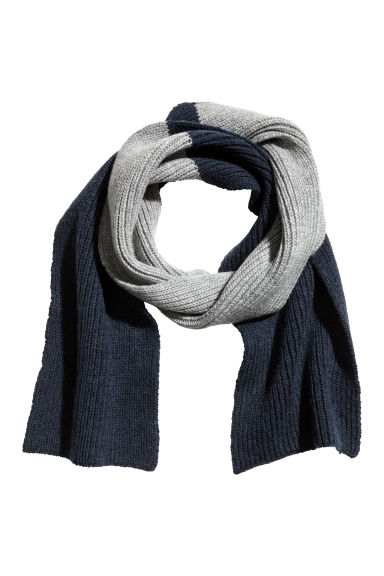 Ribbed wool scarf - Dark blue/Grey - Kids | H&M CN