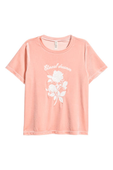 Short velour T-shirt - Powder pink - Ladies | H&M CN 1