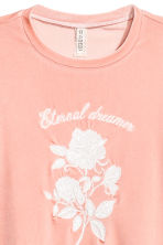 Short velour T-shirt - Powder pink - Ladies | H&M CN 2