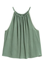 Crinkled top - Khaki green -  | H&M CA 2