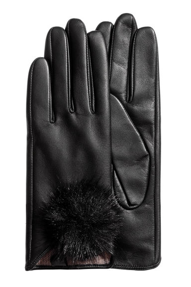 Leather gloves with pompoms - Black - Ladies | H&M 1