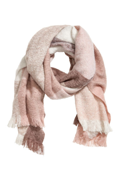 Block-print scarf - Powder pink/Beige - Ladies | H&M GB