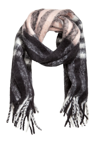Woven scarf - Black/Light pink - Ladies | H&M