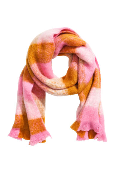 Patterned scarf - Pink/Checked - Ladies | H&M