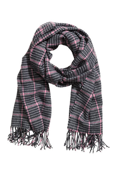 Woven scarf - Grey/Pink checked - Ladies | H&M