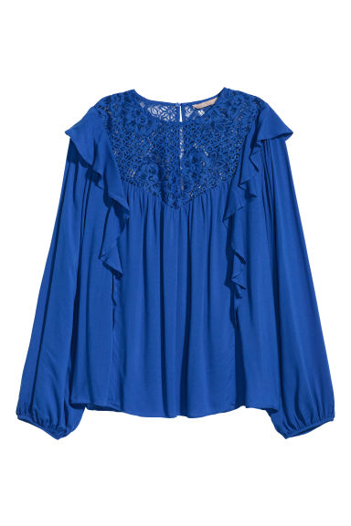 H&M+ Flounced blouse - Cornflower blue - Ladies | H&M GB