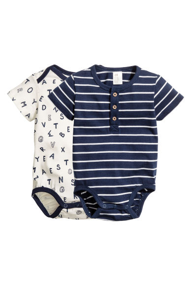 2-pack short-sleeved bodysuits - Dark blue - Kids | H&M 1