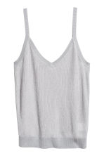 Fine-knit strappy top - Light grey - Ladies | H&M GB 2