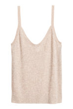 Fine-knit strappy top - Light beige marl - Ladies | H&M CA 2