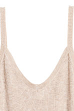 Fine-knit strappy top - Light beige marl - Ladies | H&M CA 3