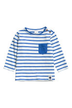 長袖上衣 - White/Blue striped -  | H&M 1