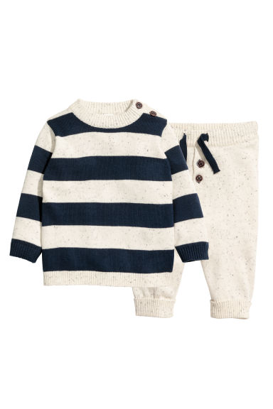 Knitted jumper and trousers - Natural white/Blue striped -  | H&M 1