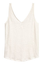 Linen jersey vest top - Natural white - Ladies | H&M 2