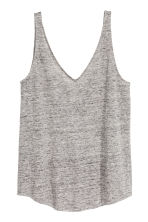 Linen jersey vest top - Grey marl - Ladies | H&M 2