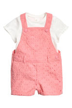 Top and dungaree shorts - Pink - Kids | H&M 1
