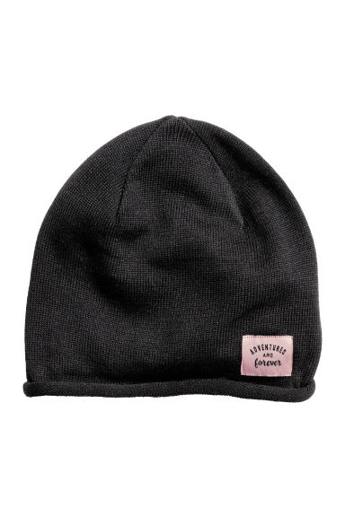 Fine-knit hat - Black - Kids | H&M CN