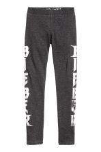 Printed jersey leggings - Dark grey/Justin Bieber - Kids | H&M CN 2