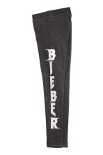 Printed jersey leggings - Dark grey/Justin Bieber - Kids | H&M CN 3
