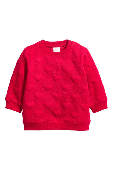 Sweat - Rouge/cœurs - ENFANT | H&M FR