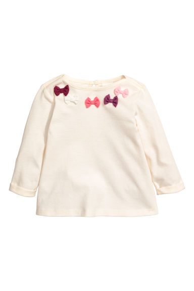 Jersey Top with Bows - Natural white/bows -  | H&M CA 1