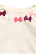 Jersey top with bows - Natural white/Bows -  | H&M 2