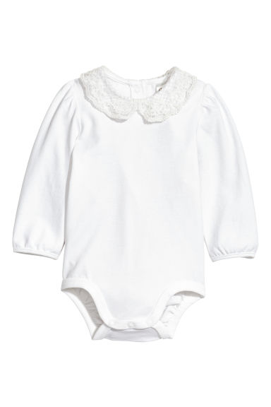 Lace-collared bodysuit - White - Kids | H&M 1
