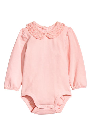 Lace-collared bodysuit - Light pink -  | H&M CN