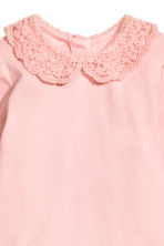 Lace-collared bodysuit - Light pink -  | H&M 2