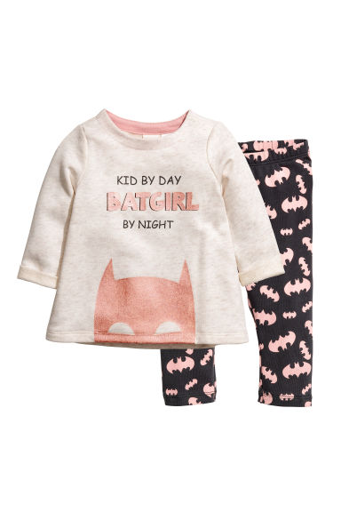 Sweatshirt and leggings - Natural white/Batgirl - Kids | H&M CN 1