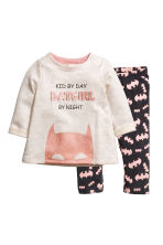 Sweatshirt and leggings - Natural white/Batgirl - Kids | H&M 1