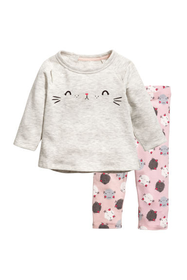 運動衫配內搭褲套裝 - Light grey marl/Cat - Kids | H&M 1