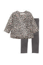 Sweatshirt and leggings - Dark grey/Leopard print - Kids | H&M 1