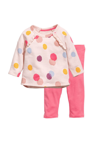 Sweatshirt and leggings - Light pink/Spotted - Kids | H&M CN 1