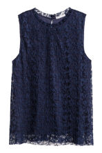 Pleated Lace Top - Dark blue - Ladies | H&M CA 2