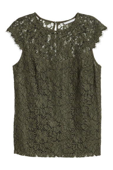 Lace top - Khaki green - Ladies | H&M CN