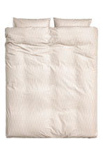 Patterned duvet cover set - Light beige -  | H&M IE 1