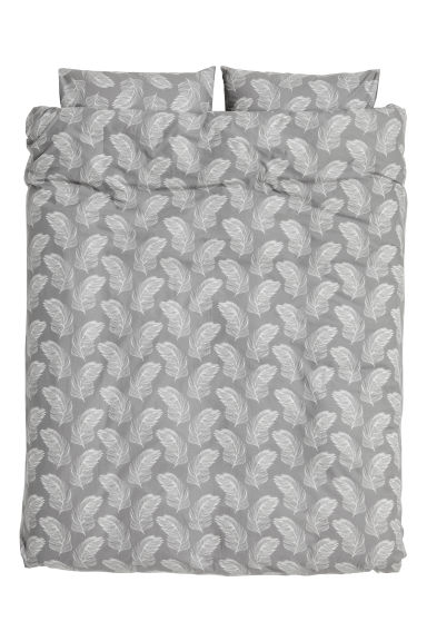 Patterned duvet cover set - Grey -  | H&M CN