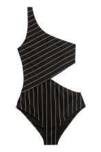斜肩連身泳衣 - Black/Striped - Ladies | H&M 1