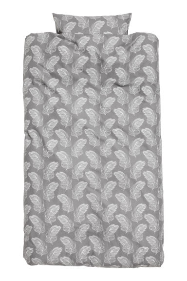 Patterned duvet cover set - Grey - Home All | H&M GB